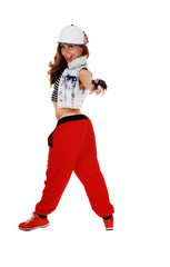 Hip hop girl pointing finger.