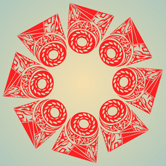 red tribal pattern