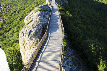 Wooden Bridge With Rock