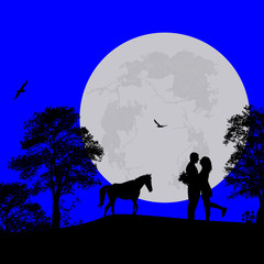 Horse and lovers at blue night