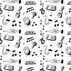 doodle musical instrument pattern and background