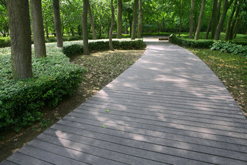 Stone walkway winding in park