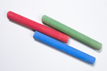 colored chalks white background