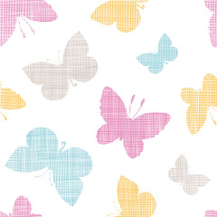 Textile textured colorful butterflies seamless pattern