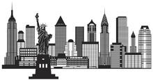 New York City Skyline noir et blanc Illustration Vecteur