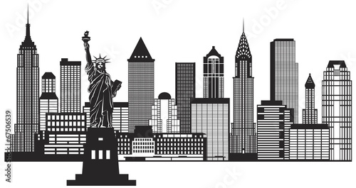 Fototapeta New York City Skyline Black and White Illustration Vector
