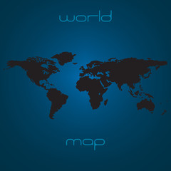Map of the world - black silhouette over blue background