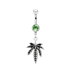 Silver piercing in the shape of marijuana