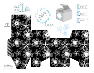 Printable Gift Box With Contrast Pattern