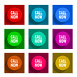 call now flat icon vector set