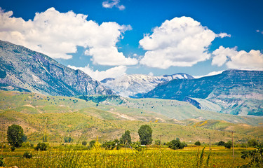 Panoramic view of beautiful nature in Gjirokaster, Albania.