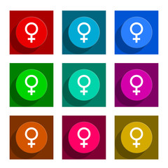 female flat icon vector set