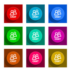 chat flat icon vector set