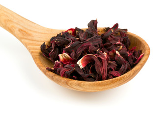dried Hibiscus tea isolated on white