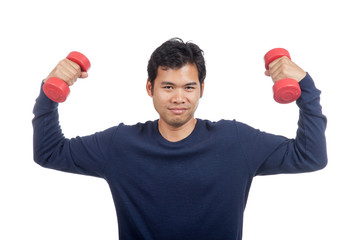 Asian man  happy hold dumbbell with both hand