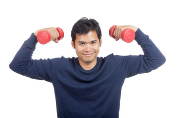 Asian man smile with red dumbbell