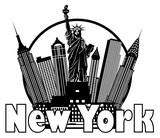 Fototapety New York City Skyline Black and White Circle Illustration