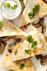 Quesadilla with mushrooms