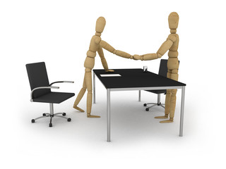 Recruitment: figures shaking hands