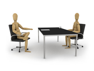 Job interview: figures sitting at a table