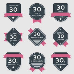 Vector set of anniversary banners