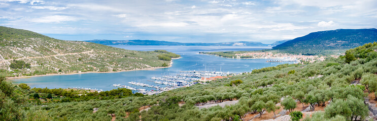 Panoramic view of Cres marina town and landscape