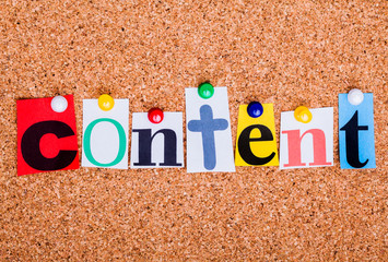 The word CONTENT on a bulletin board