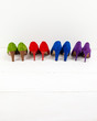 suede stiletto shoes in a row
