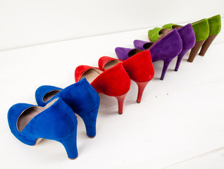 suede stiletto shoes lined up