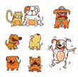 cartoon of funny different dogs set