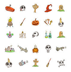 Set of halloween symbols.