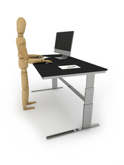 Good ergonomics: figure at standing workstation