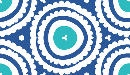 pattern  floral complex   circle blue