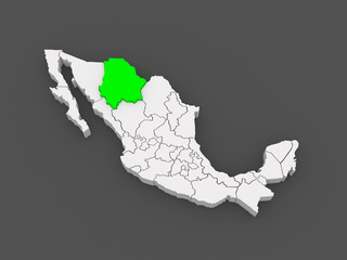 Map of Chihuahua. Mexico.