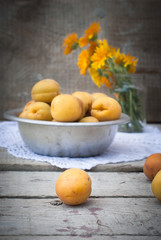 Ripe orange apricots on the table and in a bowl