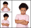 Three images of a little girl with gestures expressing negativit