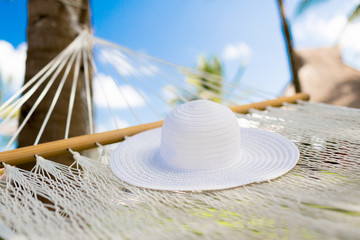 picture of hammock with white hat