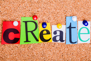 The word CREATE on a bulletin board