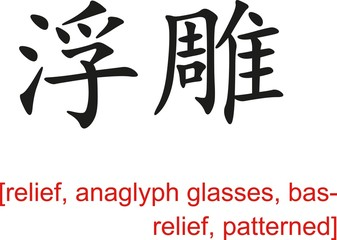 Chinese Sign for relief, anaglyph glasses, bas-relief,patterned