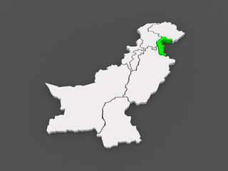 Map of Azad Kashmir. Pakistan.