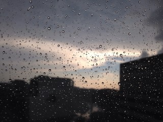 summer storm at window