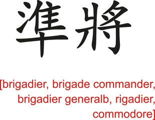 Chinese Sign for brigadier, brigade commander, commodore