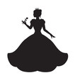 princess silhouette in long lush dress holding a rose