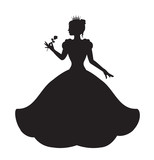 Fototapety princess silhouette in long lush dress holding a rose
