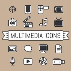 Retro Multimedia icons set