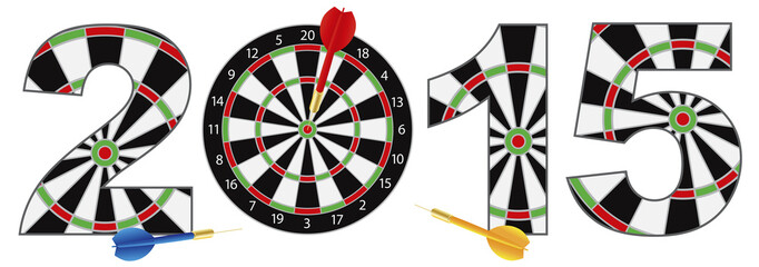 2015 New Year Number Outline Dartboard Vector Illustration