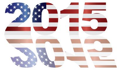 2015 USA Flag Numbers Outline Vector Illustration
