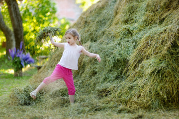 Adorable little girl playing in a haystack