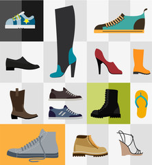 Set of flat footware icons