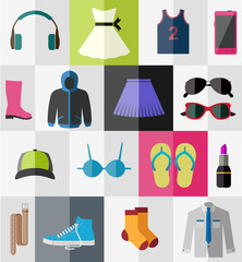 Set of flat teen's clothes and accessories